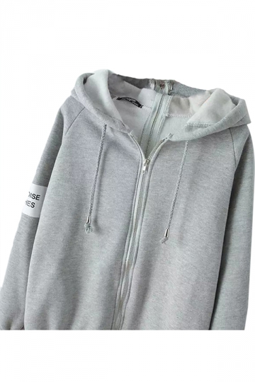 Gray Zipper Ladies Sweatshirt Plain Casual Lined Hoodie