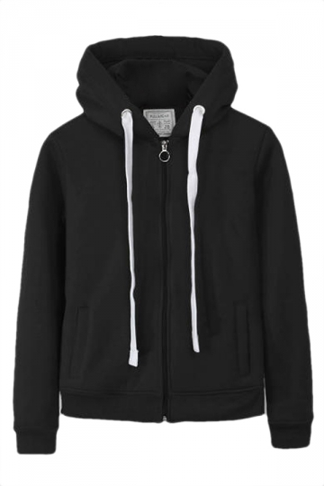 Black Casual Womens Sweatshirt Zipper Lined Plain Hoodie