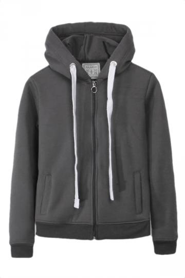 Gray Casual Womens Sweatshirt Zipper Lined Plain Hoodie