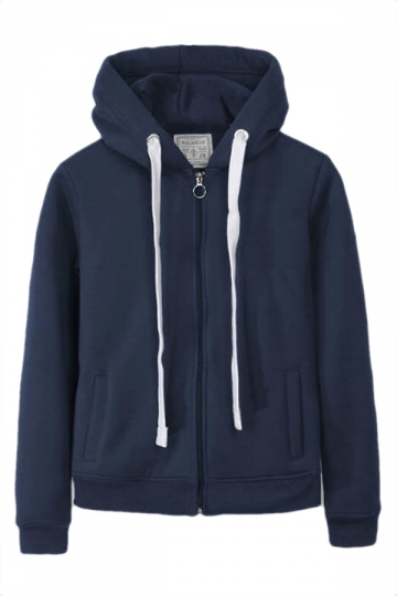 Navy Blue Casual Womens Sweatshirt Zipper Lined Plain Hoodie