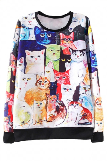 White Ladies Jumper Oversized Crew Neck Cat Printed Sweatshirt
