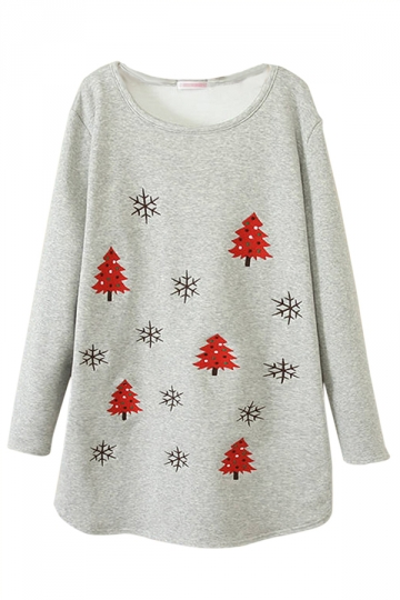 Gray Womens Christmas Trees Printed Lined Jumper Sweatshirt