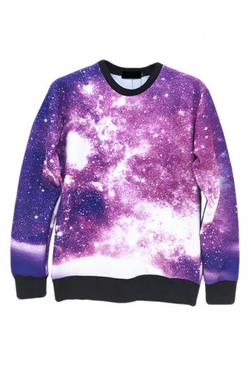 Purple Trendy Womens Crew Neck Jumper Galaxy Printed Sweatshirt