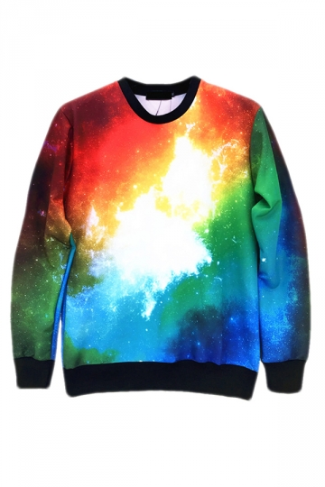 Blue Ladies Crew Neck Pullover Colorful Galaxy Printed Sweatshirt