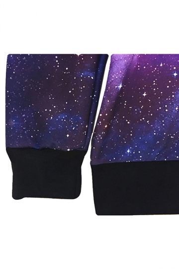 Purple Fashion Womens Jumper Crew Neck Galaxy Printed Sweatshirt