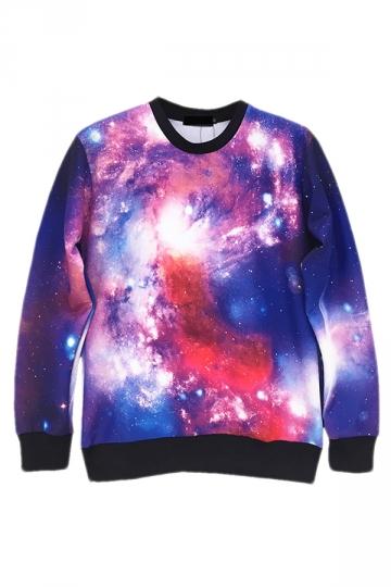 Purple Modern Womens Pullover Crew Neck Galaxy Printed Sweatshirt