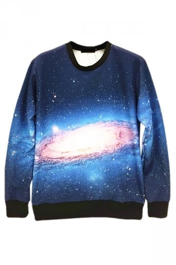 Blue Stylish Ladies Crew Neck Jumper Galaxy Printed Sweatshirt