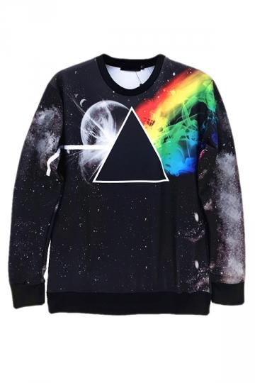 Black Ladies Jumper Crew Neck Galaxy Rainbow Printed Sweatshirt