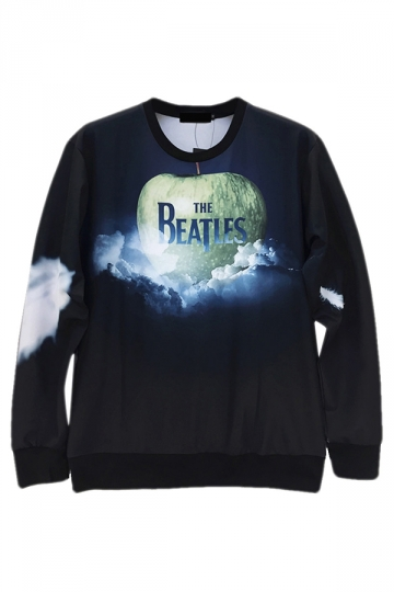 Black Jumper Crew Neck The Beatles Apple Printed Sweatshirt