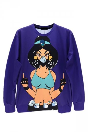 Purple Ladies Jumper Crew Neck Punk Beauty Printed Sweatshirt