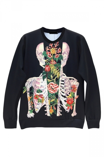 Black Pullover Crew Neck Skeleton Flower Printed Sweatshirt