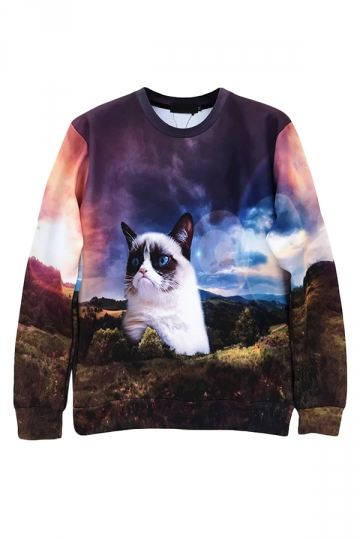 Black Womens Jumper Crew Neck Giant Grumpy Cat Printed Sweatshirt
