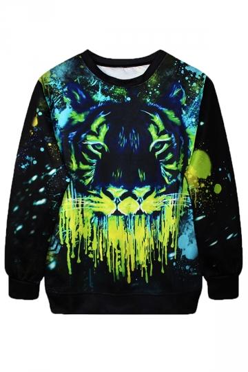 Green Cool Womens Pullover Crew Neck Tiger Printed Sweatshirt