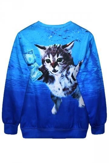Blue Cool Ladies Jumper Crew Neck Cat Dollar Printed Sweatshirt