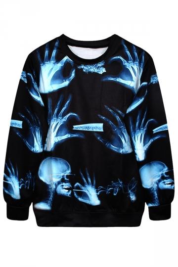 Black Stylish Ladies Jumper Crew Neck Skeleton Printed Sweatshirt