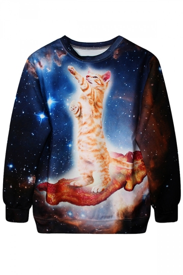 Navy Blue Crew Neck Pullover Cat Galaxy Printed Sweatshirt