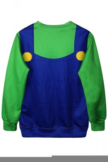 Green Cool Womens Crew Neck Jumper Super Mario Printed Sweatshirt