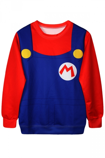 Red Cool Womens Crew Neck Jumper Super Mario Printed Sweatshirt