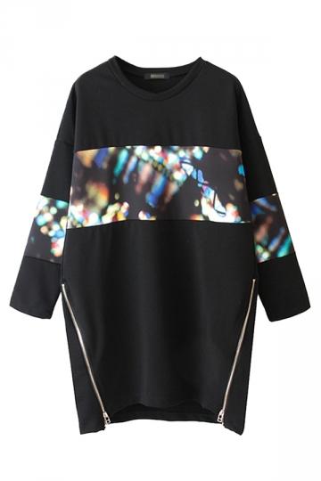 Oversized Crew Neck Zip Long Sleeve Pullover Printed Sweatshirt