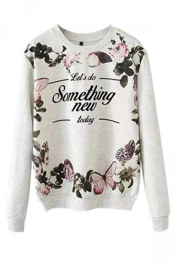 Gray Ladies Crew Neck Jumper Butterfly Flower Printed Sweatshirt