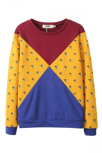 Yellow Modern Womens Crew Neck Color Block Printed Sweatshirt