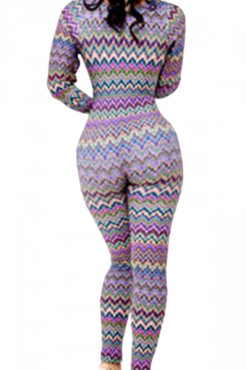 Purple Womens Sexy Low Cut Fashion Stripes Slim Bodysuit