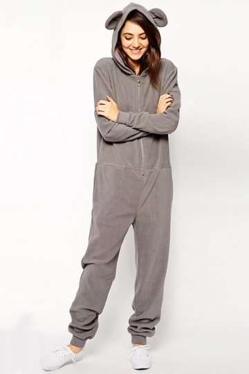 Gray Cute Womens Casual Bear Ear Jumpsuit Hooded Onesie