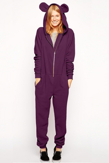 Purple Cute Womens Casual Bear Ear Jumpsuit Hooded Onesie