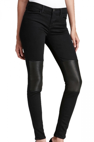 Black Tight Ladies PU Patchwork Leather Leggings