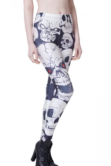 Black and White Stylish Womens Skull Printed Skeleton Leggings