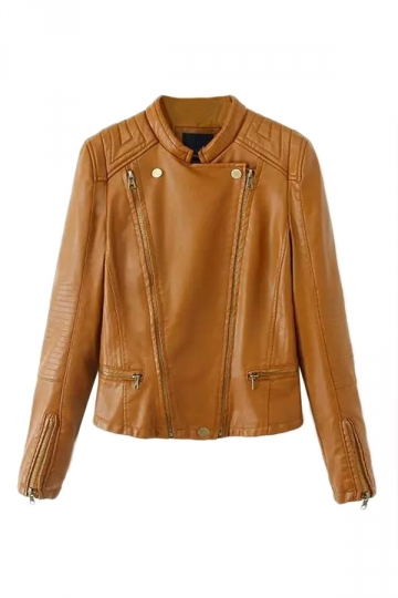 Brown Trendy Ladies Double Zipper Plain PU Jacket