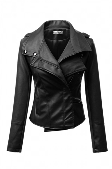 Black Cool Womens Plain PU Double Lapel Motorcycle Jacket