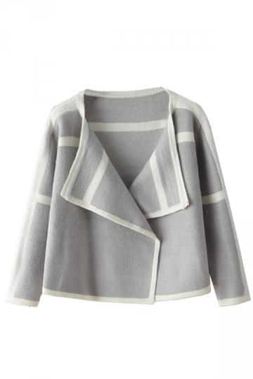Gray Sexy Womens Turndown Collar Wrap Patchwork Blazer