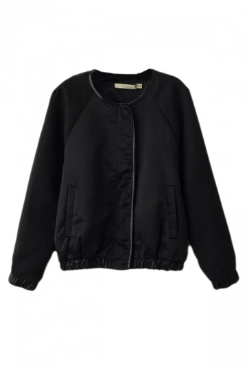 Black Cool Womens Crew Neck Plain Patchwork Bomber Jacket