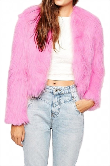 Pink Fashion Womens No Collar Plain Long Sleeve Faux Fox Fur coat