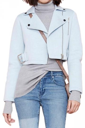 Blue Cool Ladies Turndown Collar Vacuum Cotton Motorcycle Jacket