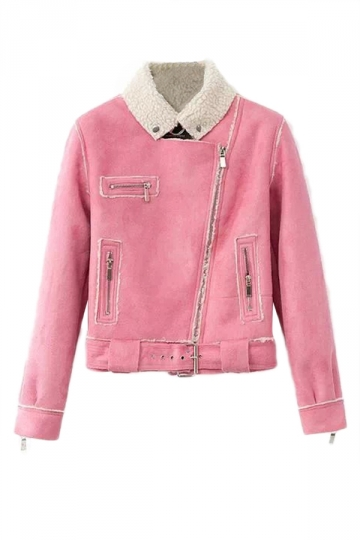 Pink Womens Lambs Wool Suede Diagonal Zipper Motorcycle Jacket