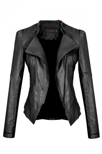Womens Slimming Turndown Collar PU Leather Jacket Black