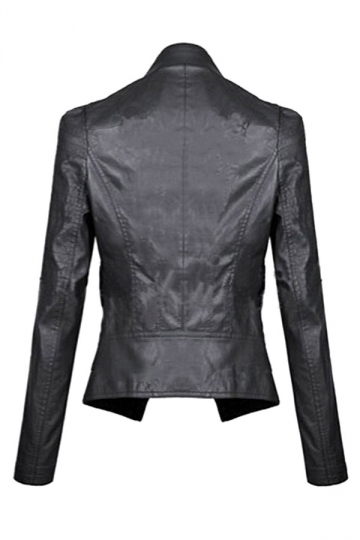 Womens Slimming Turndown Collar PU Leather Jacket Black