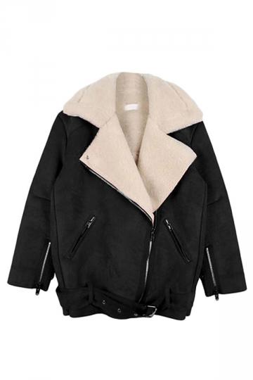 Black Pretty Ladies Turndown Fur Collar Suede Jacket