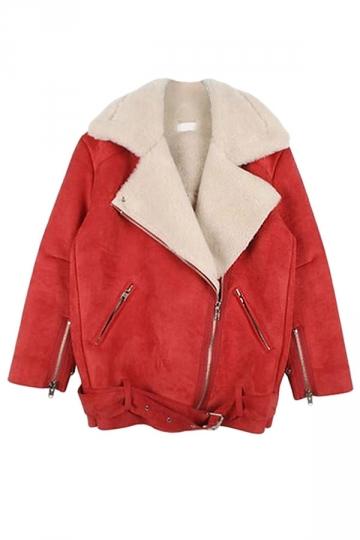 Red Pretty Ladies Turndown Fur Collar Suede Jacket