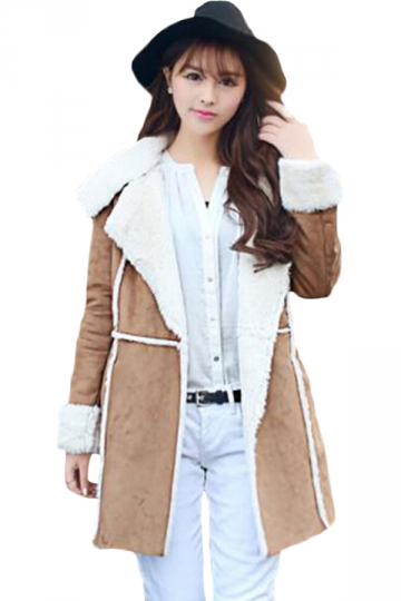 Khaki Womens Suede Retro Warm Winter Cool Long Coat