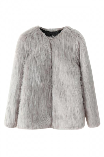 Gray Pretty Ladies Crew Neck Warm Winter Fur Coat