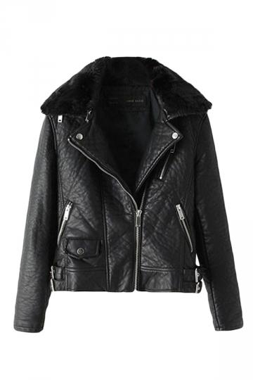 Black Pretty Womens Inclined Zipper Fur Collar Jacket