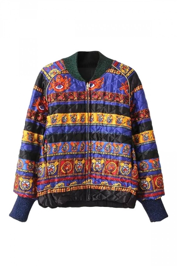 Blue Trendy Ladies Retro Pattern Printed Bomber Jacket