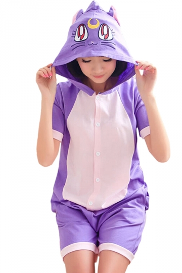 Purple Cute Ladies Cat Jumpsuit Cotton Pajamas Animal Costume