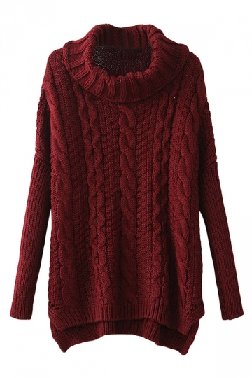 Ruby Ladies High Collar Plain Cable Knitted Pullover Sweater