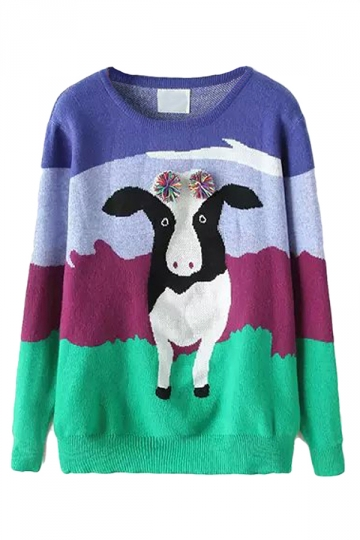 Blue Cute Womens Crew Neck Cow Fringe Patterned Pullover Sweater