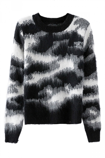 Black Laides Crew Neck Camouflage Patterned Pullover Sweater