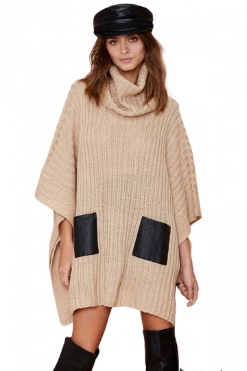 Khaki Womens Cowl Neck Batwing Sleeve Oversized Sweater Dress